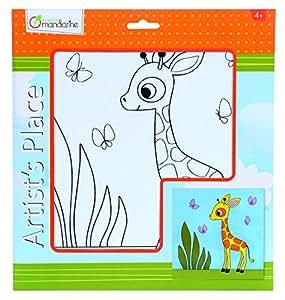 Avenue Mandarine Carton entoilé imprimé Girafe - 25 x 25 cm