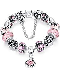 Dise?o de la pulsera DIY del encanto con Pink grano de cristal de color para las ni?as adolescentes
