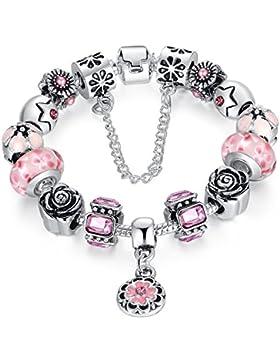 Wostu Damen Schmuck Charms Armband mit Murano Glasperlen Geburtstags Geschenk
