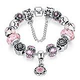 Wostu Damen Schmuck Charms Armband 925 Bettelarmband mit Murano Glasperlen Geburtstags Geschenk