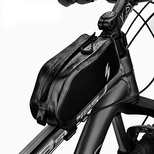 SAHOO Borse da Telaio da Bicicletta Borsa Telaio Bici Borsa Superiore del Tubo della biciclett Anteriore Borsa Impermeabile 1L Nylon Porta Cellulare Bici Ciclismo Borsa da Manubrio per Bicicletta MTB
