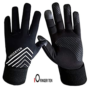 FINGER TEN Winter Handschuhe Damen Herren Warm Touchscreen Laufen Arbeit Outdoor Gloves rutschfest Liner Fleece Pair