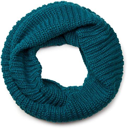 styleBREAKER Feinstrick Schal, einfarbiger Loop Schlauchschal, Feinripp Strickschal, Loopschal, Unisex 01018112, Farbe:Petrol