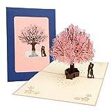 3D Karte, Pop Up Kirschblüte Liebhaber Hochzeitskarte für Romantik Faltkarte...