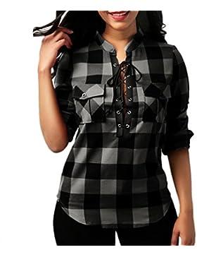 FAMILIZO Tops Mujer Fiesta Elegante Manga Larga Blusa Mujer a Cuadros Camisetas Mujer Verano Tops Mujer Primavera...