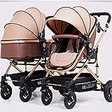 MLKARDUT 2 in 1 Tragbarer Kinderwagenwagen Doppelter Kinderwagen Anti-Schock Federn Faltbarer Verstellbarer Kinderwagen Reisesystem Kinderwagen (Color : 2 Brown)