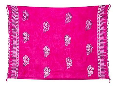Sarong Pareo Wickelrock Strandtuch Tuch Wickeltuch Handtuch - Blickdicht - ca. 170cm x 110cm - Pink Batik mit Blumen Motiv Handgefertigt inkl. Kokos Schnalle in runder Form