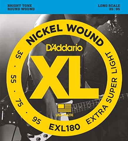 D'Addario Cordes en nickel pour basse D'Addario EXL180, Extra Super Light, 35-95, cordes longues