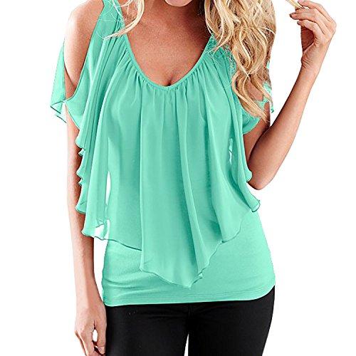 SUNNOW Elegant Damen T-Shirt Casual kurzarm dünne Fedemaus Ärmel Chiffon Tops Bluse Sommer, Gr.- 36/Large, Grün