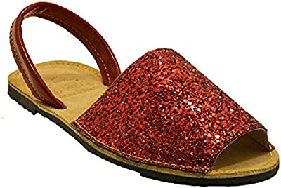 15090G - Sandalia ibicenca glitter rojo
