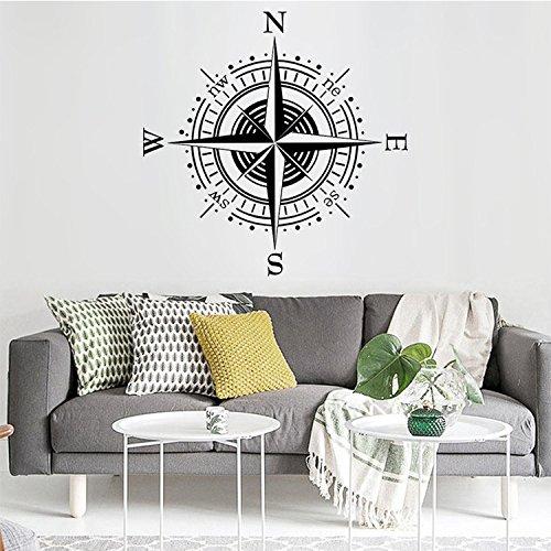 Ferris Store Creative Kompass Muster Art Wandmalereien PVC Abnehmbare Home Schlafzimmer Dekorationen Wand Aufkleber Schwarz