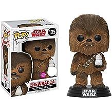 Star Wars Episodio VIII: El último Jedi - Chewbacca con Porg Flocked Pop! Figura de vinilo