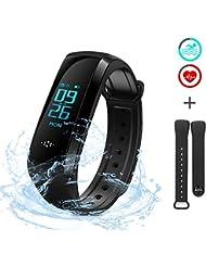 EZfull Fitness Armbanduhr Tracker USB Kabelloses Laden Smart Bracelet Wasserdicht Schrittzähler Armband Uhren Stoppuhr 8-11 Tage Standby