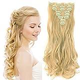 S-noilite® Full Clip tete dans les extensions de cheveux boucles Wavy frisé 8 Pcs 43cm-170g mélange d'or l'eau de Javel blond
