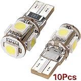 SODIAL(R) 10pcs Free Error de Canbus T10 194 168 W5W 501 5050 5 SMD LED de luz blanca lateral del bulbo