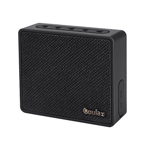 COULAX Mini Bluetooth Lautsprecher 2 Stunden Ladung 8 Stunden Akkulaufzeit Wireless Speaker mit eingebautem Mikrofon Mini Bluetooth Speaker mit reinem Bass Mobiler Lautsprecher Musicbox für iPhone iPad Laptops und Smartphones in Schwarz