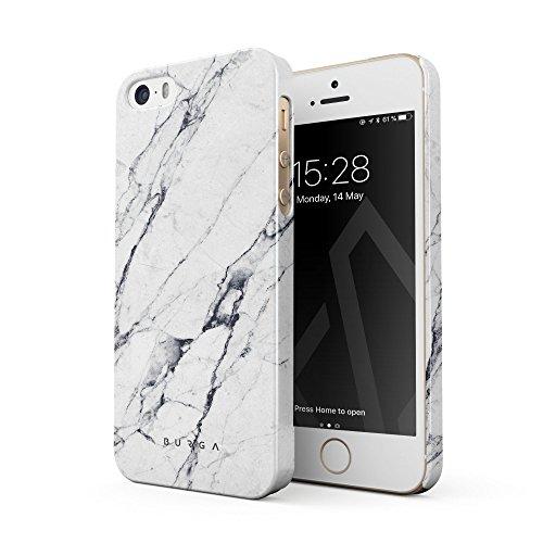 BURGA Hülle Kompatibel mit iPhone 5 / 5s / SE Handy Huelle Licht Weiß Marmor Muster White Marble Dünn, Robuste Rückschale aus Kunststoff Handyhülle Schutz Case Cover