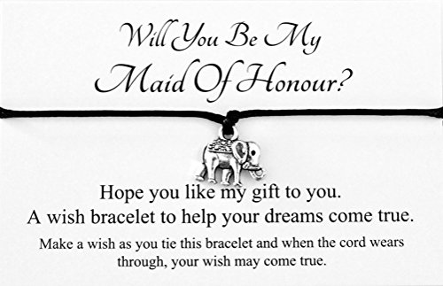 Will You Be My Maid Of Honour? Wedding Elephant Charm Wish Bracelet Card Gift Bag Friendship charmed Bracelet Party Favour(Hand made in UK)