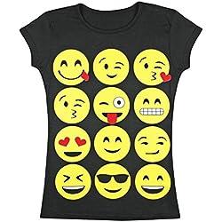 Para chica, camiseta con estampado de emoji, top de manga corta, cara sonriente (7-8 años, Negro)