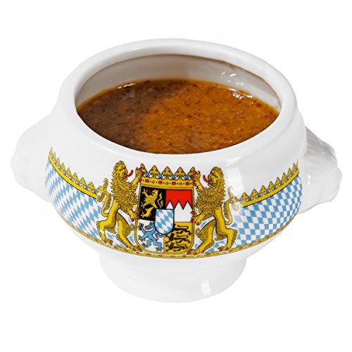 Van Well Mini Löwenkopf-Terrine Bavaria   Ø 75 mm   100 ml   bayrische Geschirr-Kollektion mit Wappen   Kleine Senf-Schale   Porzellan-Schälchen   Bayern -