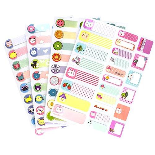 97 Pieces Wasserdichte Etiketten Aufkleber Tags Schreiben-Auf Leere Namensschild für Kindertagesstätte Kinder Schule-4 Packs