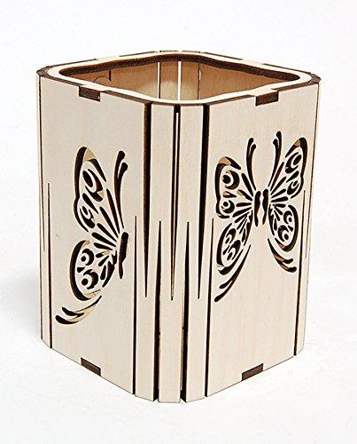 Quadratischer Stifthalter/Büro Schreibtisch Organizer/natur Birke, Schmetterling Cut Out Design - Büro-schreibtisch, Birke