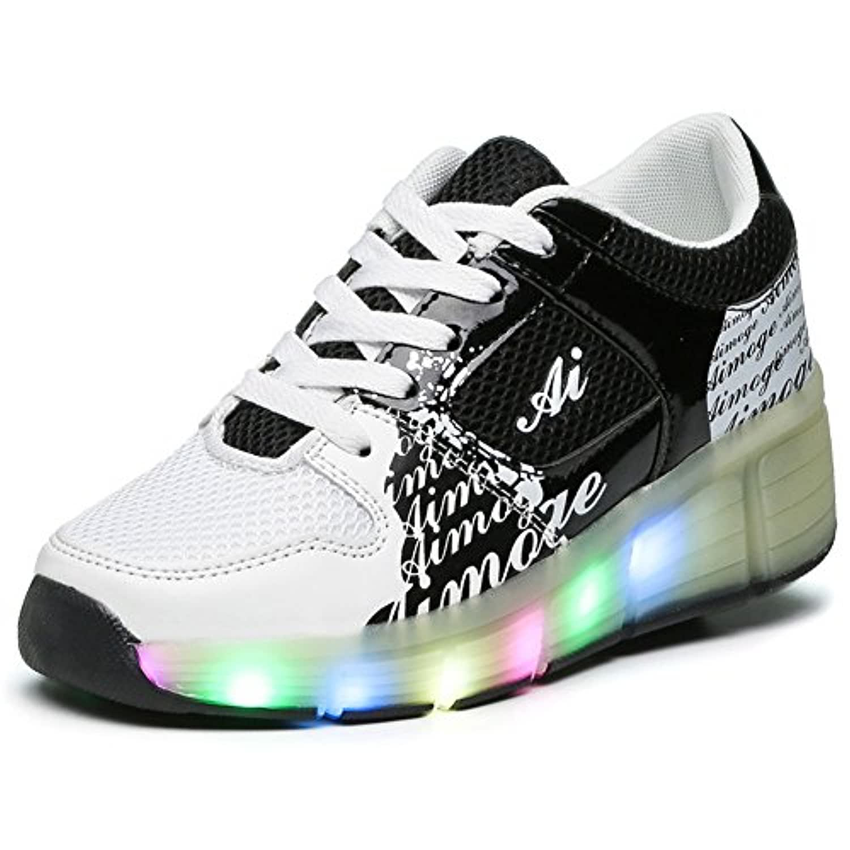 KE Unisex Led Light Children Wheeled Auto-paragraph Pulley Shoes Skates Sports Shoes (CN34=22cm, Black)