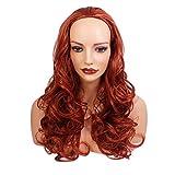 56 cm - Damen 3/4 Half Fall Perücke - Wellenförmiger Stil - Kupfer # 350 - Hitzebeständige Kunstfaser - Clip In Hair Piece Extension - 250g - Sieht aus und fühlt sich an wie echtes Haar von Elegant Hair