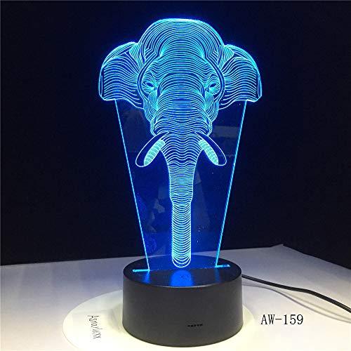 Impresionante luz de noche LED con luz de elefante fantasma 3d con 7 luces de color como una linda decoración para el hogar para niños y niñas -159