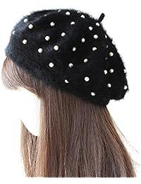 Sweet Home Mujeres Dama Niñas Boina Negro de piel de fashion de estilo francés, cálido Beanie Sombreros Con Perlas