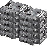 10er Set - Schriftband kompatibel zu DYMO D1-Band / 45013  schwarz auf weiß / 12mm x 7m  geeignet für DYMO LabelPOINT & LabelManager LM100 / LM120P / LM150 / LM160 / LMPC2 / LM200 / LM210D / LM220P / LM260 / LM280 / LM300 / LM350 / LM400 / LM260P / LM350D / LM360D / LM420P / LM450 / LP350 / LP100 / LP150 / LP200 / LP250 / LP300 / PC / PC2 / PnP / PnP WiFi / LW400 / LW450 Duo