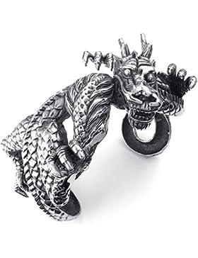 KONOV Schmuck Herren Armband, Schwere groß Retro Edelstahl Gotik Drachen Biker Armreif, Schwarz Silber