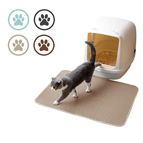 CLEAR-S Cat Litter Mat, Cat Litter Trapper Catcher with Double Layer Honey Comb Design, Litter Trapping Mat, Waterproof Urine Proof Material, Easy Clean Scatter Control, Litter Box Rug (Brown) -