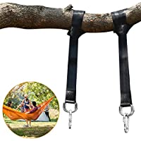 Pootack Hamaca correas árbol, Juego de 2 correas para colgar el árbol 150CM Con D-Ring, Dos ganchos Carabiners - Carga máxima 500KG - Correas Terylene 100% no estirable - Conveniente para la Hamaca, el Oscilación Para Niños Adultos