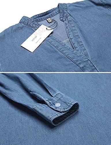 ACEVOG Damen Blusenkleid Jeanskleid Lange Ärmel Mini V-Ausschnitt Hemdkleid Strandkleid Freizeitkleid Casual Kleid mit Gürtel Lichtblau