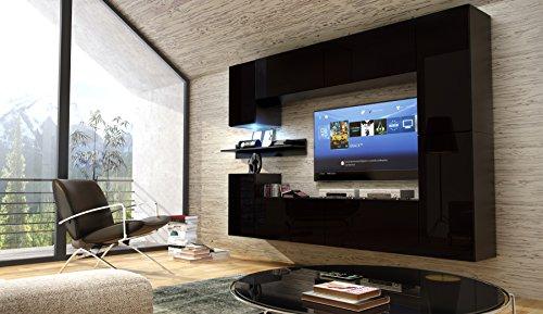FUTURE 13 Moderne Wohnwand, Exklusive Mediamöbel, TV-Schrank, Neue Garnitur, Große Farbauswahl (RGB LED-Beleuchtung Verfügbar) (Schwarz MAT base / Schwarz MAT front, Weiß LED)