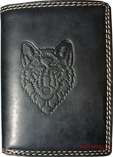 (Portemonnaie Büffel Wolf geprägt Schwarz)