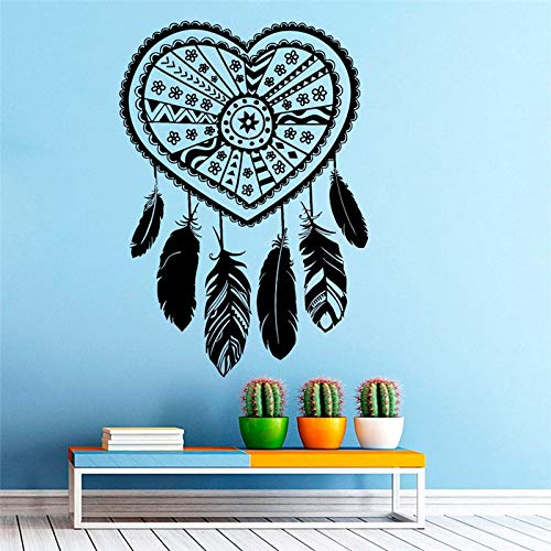 guijiumai Einzigartige Herz Silhouette Designed Dream Catcher Wallpaper Home Spezielle Amulett Decor Art Wandmalereien Cool Vinyl Aufkleber schwarz 57x81cm