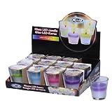 12x Candela di cera vera in bicchiere con LED cambiacolori (ciascuno 3x viola, rosa, verde, blu)