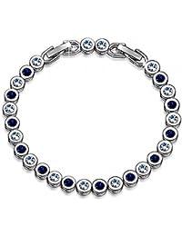 Emma Gioielli - Pulsera Para Mujer Tenis Ch. en Plata y Cristales SWAROVSKI ELEMENTS Blancos y Azul Oscuro - Caja de Regalo