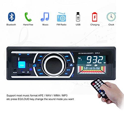 Kingtoys®1 DIN MP3-Autoradio digital Media Receiver mit ISO Android Smartphone Control Funktion(Bluetooth,4x 60Watt,USB,Aux-Eingang,SD-Speicher) (KT-6203 Updated Schwarz)