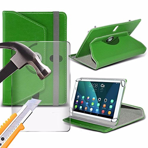 Spyrox - Amazon Fire (7 inch) Tablet- Hülle PREMIUM PU 360 Rotierende Leder-Brieftasche Folio Faux 4 Springs Stand mit gehärtetes Glas LCD-Display Schutzfolie -Green (7in-green Tablet-fall)