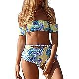 VECDY Bikini Damen Set Sexy Bikini Set Print Bademode Push-Up Gepolsterter Badeanzug Bikini Mädchen Bikini Sport Oberteil Unterwäsche Höschen BH