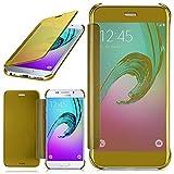moex Samsung Galaxy A3 (2016) | Hülle Transparent TPU Void Cover Dünne Schutzhülle Gold Handyhülle für Samsung Galaxy A3 2016 Case Ultra-Slim Handy-Tasche mit Sicht-Fenster