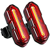 TOPELEK USB Rechargeable Bike Rear Light【2 Packs】Powerful LED Bike Tail Lights with 5 Light Modes and 2 USB cables, Headlight Taillight Combinations for Cycling Safety Flashlight Helmet Mountain Bike