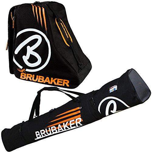 Set combinato Brubaker Davos - borsa per sci e borsa per scarponcini da sci, per 1 paio di sci + racchette + scarpe, Nero - arancione, 170 cm