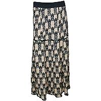 Mogul Interior Women Black Skirts Printed Rayon Flared Long Maxi Skirt M/L