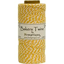 Hemptique Bakers Twine - Bobina de hilo de algodón de fuerza media (125 m, 50 g, grosor aprox. de 1 mm), color amarillo y blanco