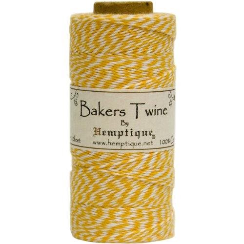 Hemptique Bakers Twine - Bobina de Hilo de algodón de Fuerza Media (125 m, 50 g, Grosor Aprox. de 1 mm), Color Amarillo y Blanco