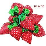 ahyuan 10Stück Strawberry Einkaufstaschen, Ripstop-Nylon wiederverwendbare Einkaufstasche Tasche, erweiterbar Eco Staubbeutel (Farbe A) Farbe A